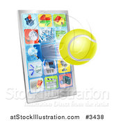Vector Illustration of a 3d Tennis Ball Flying Through and Breaking a Smart Phone Screen by AtStockIllustration