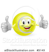 Vector Illustration of a 3d Tennis Ball Mascot Holding Two Thumbs up by AtStockIllustration