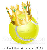Vector Illustration of a 3d Tennis Ball Wearing a Golden Crown by AtStockIllustration