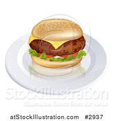 Vector Illustration of a 3d Thick Beef Meat Patty Cheeseburger on a Plate by AtStockIllustration