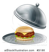 Vector Illustration of a 3d Thick Cheeseburger on a Platter by AtStockIllustration