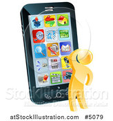 Vector Illustration of a 3d Thinking Gold Man Looking over Apps on a Cell Phone by AtStockIllustration