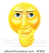 Vector Illustration of a 3d Thinking Yellow Male Smiley Emoji Emoticon Face Touching His Chin by AtStockIllustration