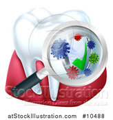 Vector Illustration of a 3d Tooth and Gums with a Magnifying Glass over a Protective Dental Shield by AtStockIllustration