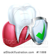 Vector Illustration of a 3d Tooth and Protective Dental Shield by AtStockIllustration