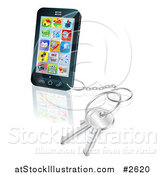 Vector Illustration of a 3d Touch Screem Smart Cell Phone with a Key Ring by AtStockIllustration