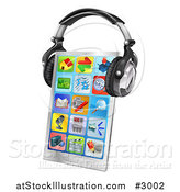 Vector Illustration of a 3d Touch Screen Smart Phone with App Icons and Headphones by AtStockIllustration