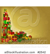 Vector Illustration of a 3d Tower of Christmas Gifts on a Gold Background by AtStockIllustration
