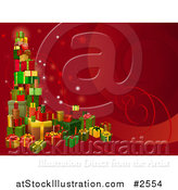 Vector Illustration of a 3d Tower of Christmas Gifts on a Red Background by AtStockIllustration