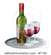 Vector Illustration of a 3d Tray with Glasses of Red Wine and a Bottle by AtStockIllustration