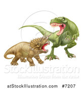 Vector Illustration of a 3d Tyrannosaurus Rex Dinosaur Attacking a Triceratops by AtStockIllustration