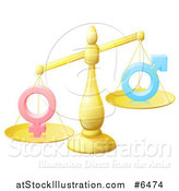 Vector Illustration of a 3d Unbalanced Gold Scale Weighing Gender Inequality Symbols by AtStockIllustration