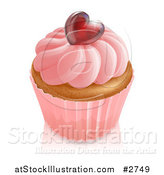 Vector Illustration of a 3d Vanilla Cupcake with Pink Frosting and a Shiny Red Heart by AtStockIllustration