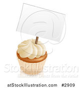 Vector Illustration of a 3d Vanilla Cupcake with White Frosting and a Sign by AtStockIllustration