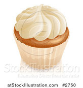 Vector Illustration of a 3d Vanilla Cupcake with White Frosting and a White Wrapper by AtStockIllustration