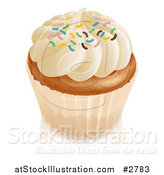 Vector Illustration of a 3d Vanilla Cupcake with White Frosting and Colorful Sprinkles by AtStockIllustration