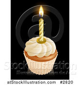 Vector Illustration of a 3d Vanilla Frosted Birthday Cupcake with a Lit Candle by AtStockIllustration