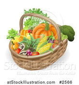 Vector Illustration of a 3d Veggie Packed Basket by AtStockIllustration