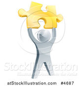 Vector Illustration of a 3d Victorious Silver Man Holding up a Golden Puzzle Piece by AtStockIllustration