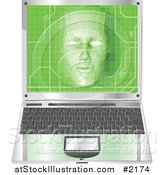 Vector Illustration of a 3d Virtual Face over a Laptop by AtStockIllustration