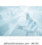 Vector Illustration of a 3d Virtual Hand Pushing a Button on a Blue Map Screen by AtStockIllustration