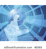 Vector Illustration of a 3d Virtual Hand Selecting a Globe Button, on Blue by AtStockIllustration