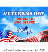 Vector Illustration of a 3d Waving American Flag with Veterans Day Honoring All Who Served Thank You Text and Blue Sky by AtStockIllustration