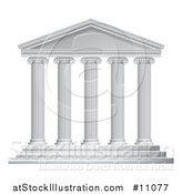 Vector Illustration of a 3d White Ancient Roman or Greek Temple with Pillars by AtStockIllustration