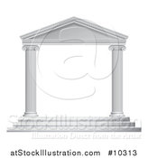 Vector Illustration of a 3d White Ancient Roman or Greek Temple with Pillars Frame by AtStockIllustration