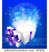 Vector Illustration of a 3d White and Purple Open Gift Box with Magic over Blue by AtStockIllustration