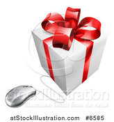 Vector Illustration of a 3d White and Red Gift Box Wired to a Computer Mouse by AtStockIllustration