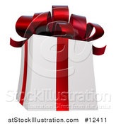 Vector Illustration of a 3d White Christmas Gift Present with a Red Bow and Ribbons by AtStockIllustration