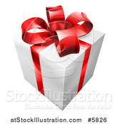 Vector Illustration of a 3d White Gift with a Red Ribbon and Bow by AtStockIllustration