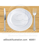 Vector Illustration of a 3d White Plate with Silverware on a Wooden Table by AtStockIllustration