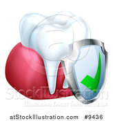 Vector Illustration of a 3d White Tooth and Gums with a Protective Dental Shield by AtStockIllustration