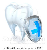 Vector Illustration of a 3d White Tooth with a Protective Dental Shield by AtStockIllustration