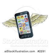 Vector Illustration of a 3d Winged Cell Phone by AtStockIllustration