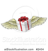 Vector Illustration of a 3d Winged Gift Box with a Red Bow by AtStockIllustration