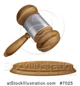 Vector Illustration of a 3d Wooden and Silver Judge or Auction Gavel by AtStockIllustration