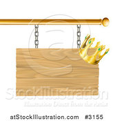 Vector Illustration of a 3d Wooden Shingle Sign with a Crown by AtStockIllustration