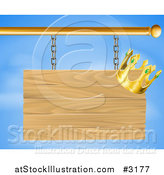 Vector Illustration of a 3d Wooden Shingle Sign with a Crown over a Blue Sky by AtStockIllustration
