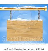 Vector Illustration of a 3d Wooden Shingle Sign with Snow and Blue Sky by AtStockIllustration
