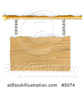 Vector Illustration of a 3d Wooden Shingle Sign with Snow by AtStockIllustration
