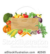 Vector Illustration of a 3d Wooden Sign with Fresh Veggies by AtStockIllustration