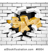 Vector Illustration of a 3d Word, SALE, Crashing Through a White Brick Wall by AtStockIllustration