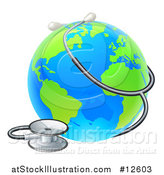 Vector Illustration of a 3d World Earth Globe with a Stethoscope by AtStockIllustration