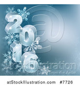 Vector Illustration of a 3d Year 2016 with Snowflakes on Blue by AtStockIllustration