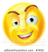 Vector Illustration of a 3d Yellow Charming Flirty Male Smiley Emoji Emoticon Face by AtStockIllustration