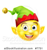 Vector Illustration of a 3d Yellow Christmas Elf Smiley Emoji Emoticon Face by AtStockIllustration
