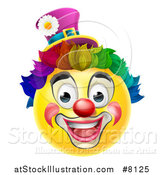 Vector Illustration of a 3d Yellow Clown Smiley Emoji Emoticon Face with a Rainbow Wig by AtStockIllustration